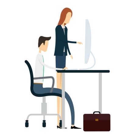 administracion de empresas: vector gente de negocios en el trabajo en el escritorio