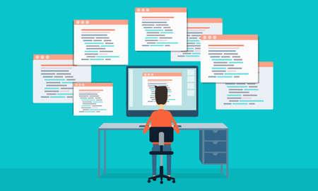 wektor ludzie Programowanie opracowanie strony internetowej i aplikacji