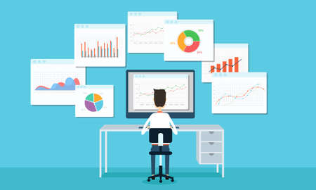business people analytics business graph and seo on web Vector