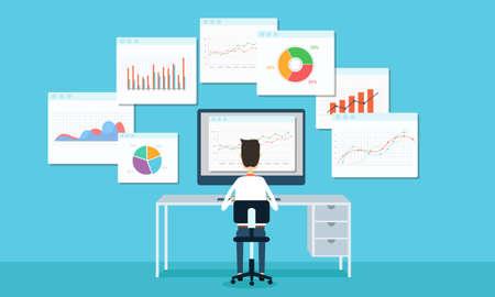 ludzie biznesu Analytics wykres biznesowy i SEO w internecie Ilustracje wektorowe