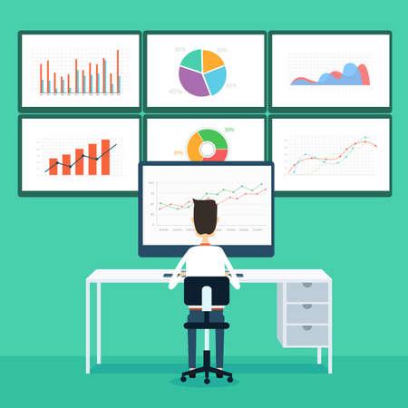 비즈니스 사람들이 모니터에 비즈니스 그래프와 현서 Analytics 신청 일러스트