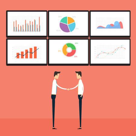 グラフ ・ ビジネス ・ モニターの成功ビジネス人々  イラスト・ベクター素材
