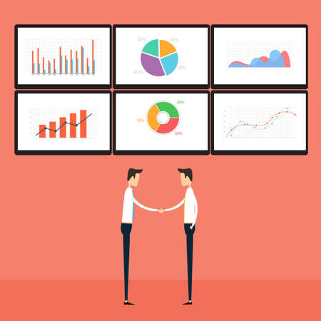 monitoring: success business people on business graph monitor