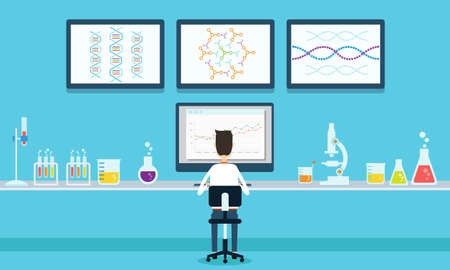 vector people scientists research in laboratory process Illustration