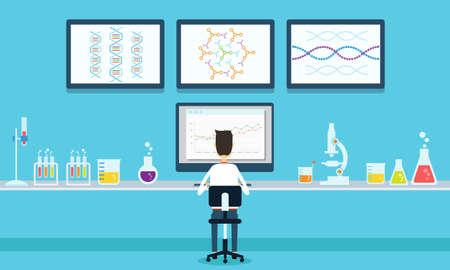 estudiar: vector gente científicos en la investigación del proceso de laboratorio