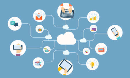 business online network on cloud device application vector