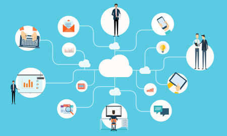 business communication: Vector people business communication working online network Illustration
