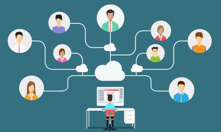 Connexion de communication de l'homme d'affaires pour les entreprises Banque d'images - 33304446