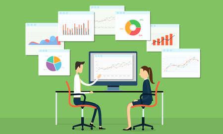 Geschäftsleute mit Marketing-Diagramme Standard-Bild - 33304453