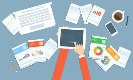 gestion empresarial: planificaci�n de la inversi�n empresarial en tecnolog�a de dispositivos Vectores