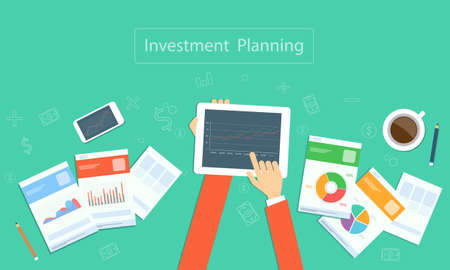 Vector business investment planning on device technology Illustration