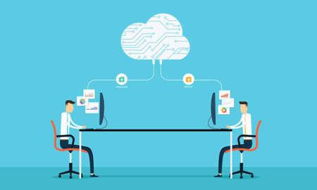 programing: Conexi�n Programaci�n desarrollar SIET Web y de aplicaciones en la nube Vectores