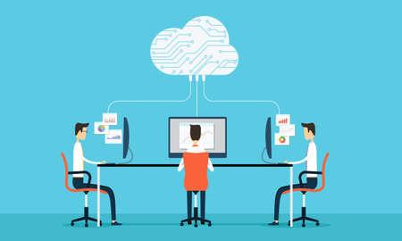 Mensen programing ontwikkelen web en applicatie op cloud netto arbeid