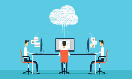 People programing develop web and application on cloud net work Illustration