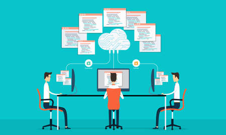 programing: Group programing develop web and application on cloud net work Illustration