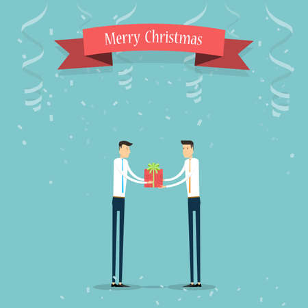 Business people giving Christmas gift to business partner