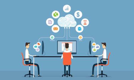 Gens d'affaires sociale sur le cloud Banque d'images - 33657365