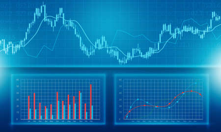 stocks: Business financial and investment graph report background Stock Photo