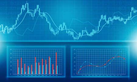 Zakelijke financiële en investeringen grafiek rapport achtergrond