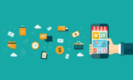 móvil de compras en línea de negocios de vectores en el dispositivo móvil
