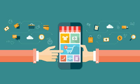 emarketing: vector business mobile online shopping and e-marketing