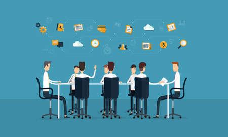 vector zakelijke teamwerk vergader- en brainstorm-concept