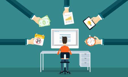 in order: businessman working on line form order