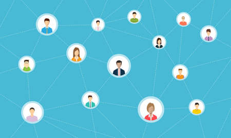 global networking: social network connection for online business Illustration
