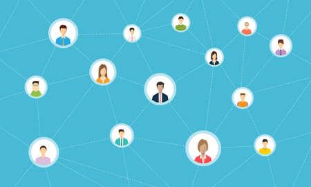 social network connection for online business Illustration