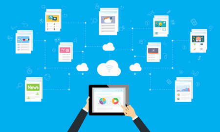 programing: business working online and internet network on cloud Illustration