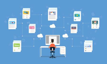 business man working on internet online network connection Ilustração