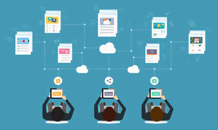 programing: business working online network connection by tablet Illustration