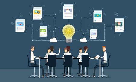 Menschen Geschäft Teamwork Treffen und Brainstorming