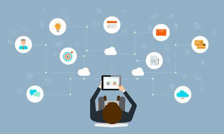 affaires travaillant connexion en ligne