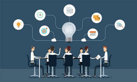 lluvia de ideas: el trabajo en equipo reuni�n de negocios y el concepto de lluvia de ideas Vectores