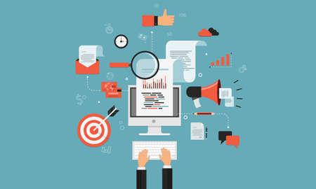 mercadeo en red: marketing digital concepto de negocio en l�nea