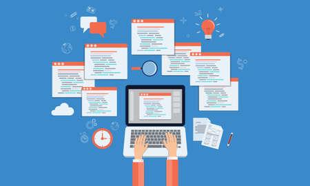 vector programer ontwikkelen website en applicatie op laptop Stock Illustratie