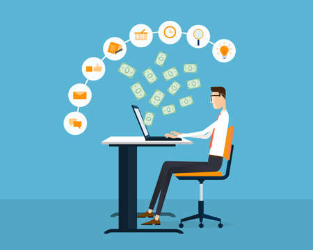 earning: people business making earning online idea concept background