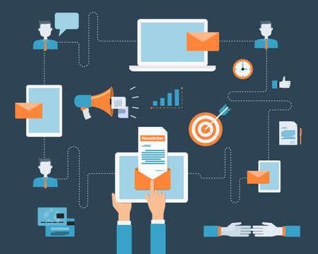 business email marketing on mobile connection background Ilustração