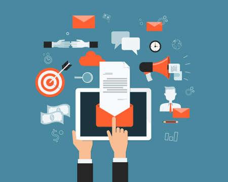tecnologia informacion: email marketing negocio en l�nea de fondo conexiones