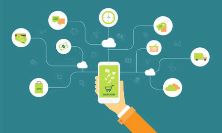purchasing: business shopping on line on cloud mobile concept