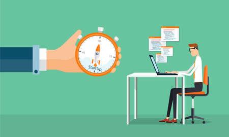 gestion empresarial: gente hombre de negocios de trabajo y puesta en marcha de negocios Vectores