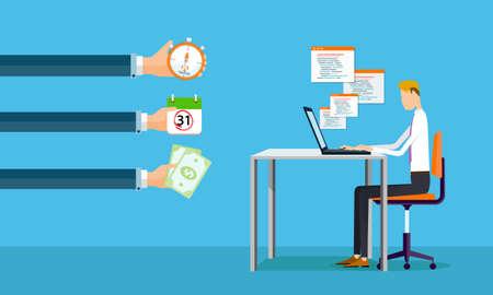 ganancias: de negocios que trabajan en la l�nea de hacer ganancias para las empresas Vectores