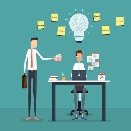 hombres ejecutivos: gerente de comentarios a trabajo y bono empleado