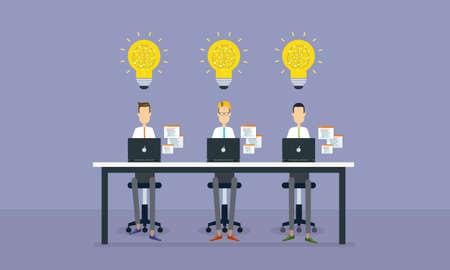 grupo de pessoas: grupo de pessoas que trabalham e projeto de negócio planejamento criativo Ilustra��o