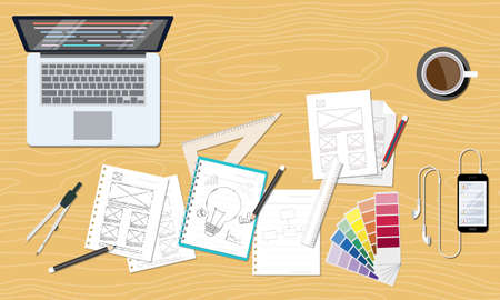 working in office: web and graphic creative design layout workspace
