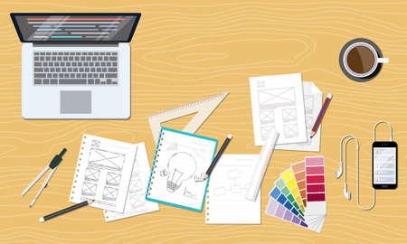 trabajando en casa: web y dise�o gr�fico creativo dise�o del espacio de trabajo Vectores
