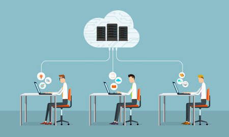 people business working on cloud network Illustration
