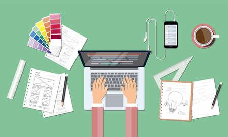 business web codering en creatief ontwerp werkplek Vector Illustratie
