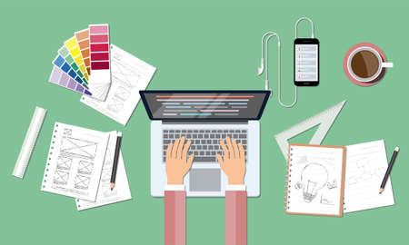research study: business web coding and creative design workspace